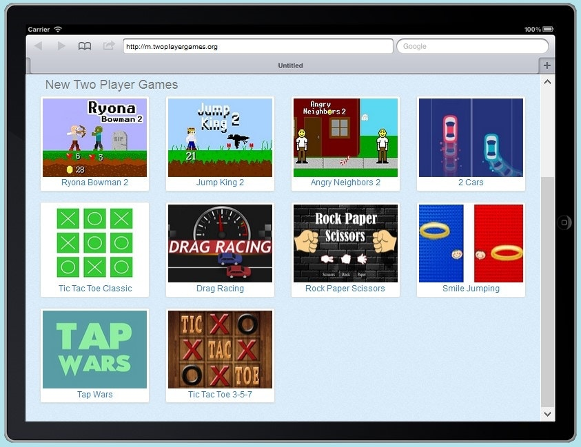 Twoplayergames.org iPad Mobile Homepage